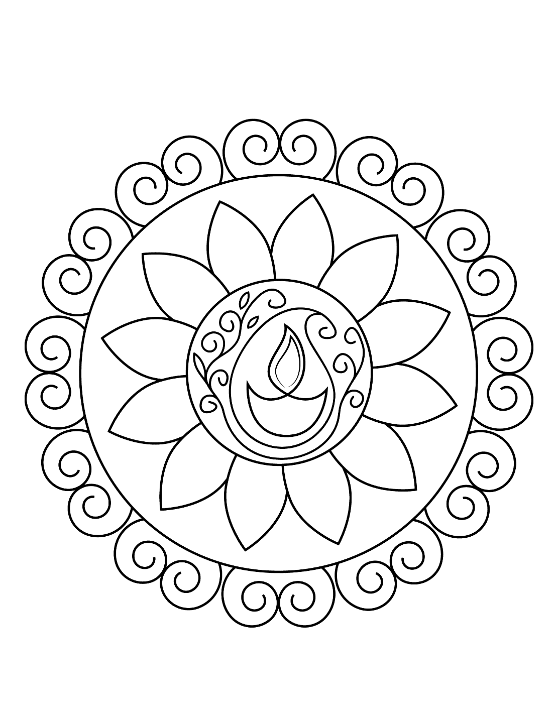 Rangoli Diwali Coloring Pages