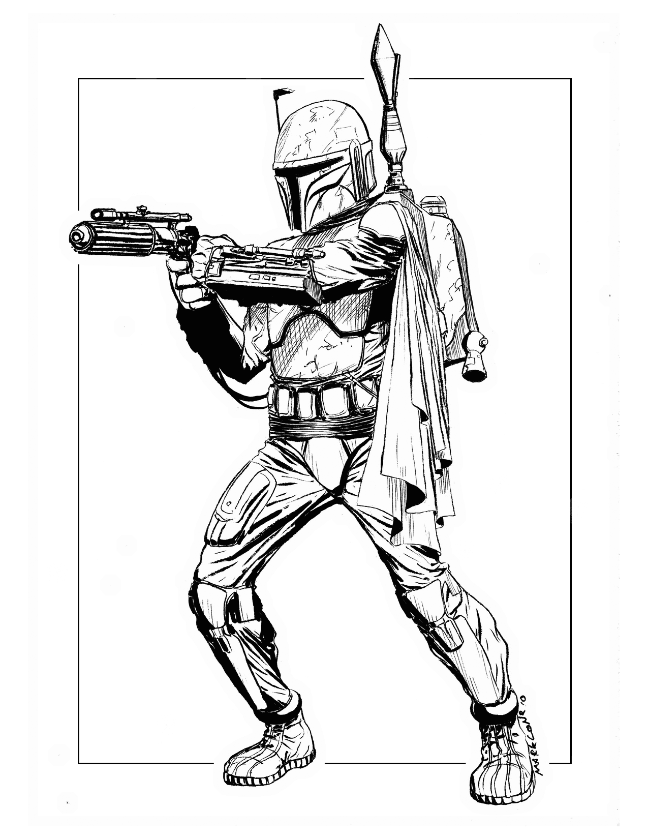 Realistic Boba Fett Coloring Pages