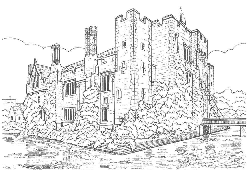 Realistic Castle Coloring Page Coloring Rocks
