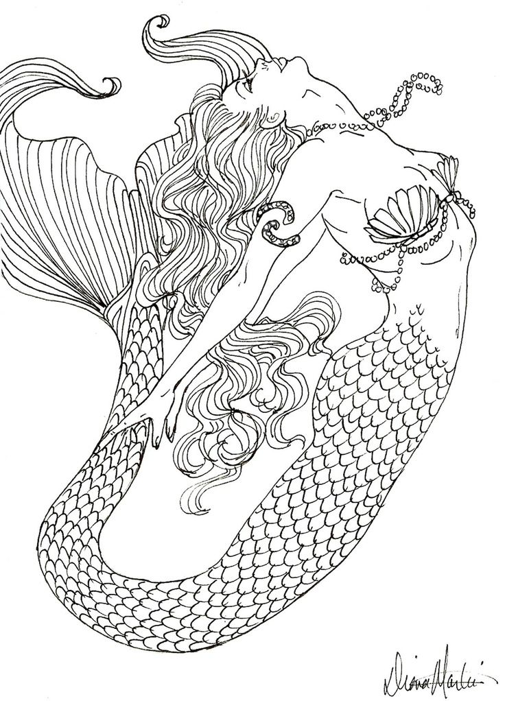 Realistic Mermaid Coloring Page Printables