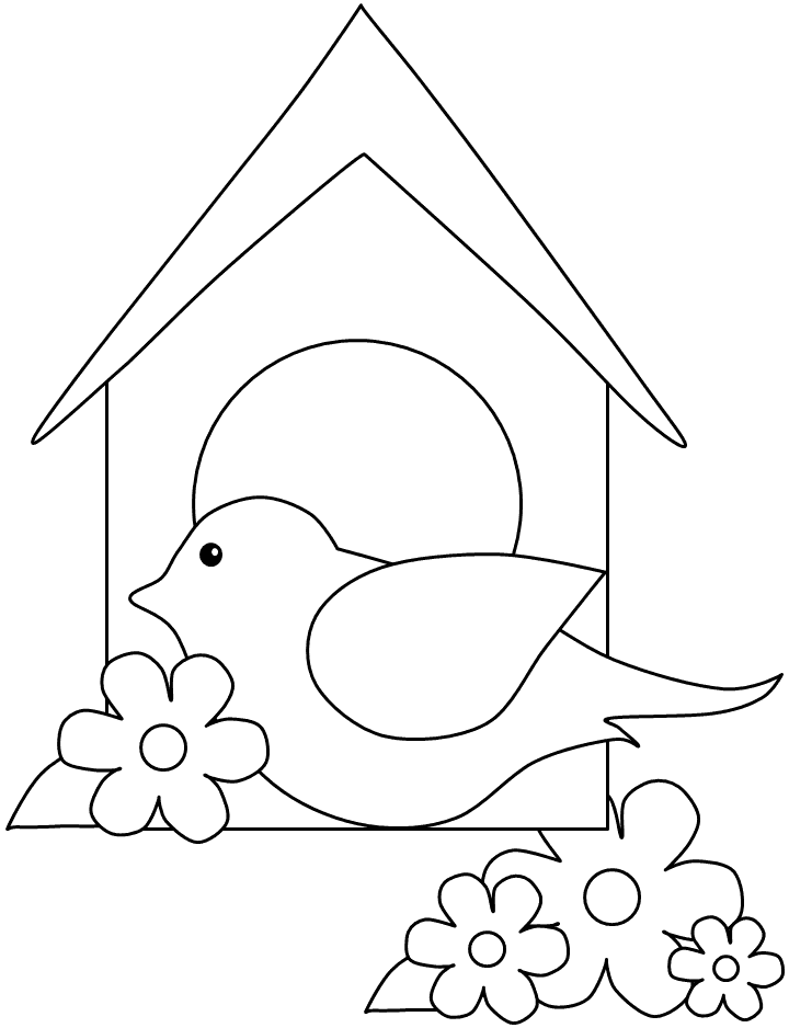 Robin Bird House Simple Coloring Page
