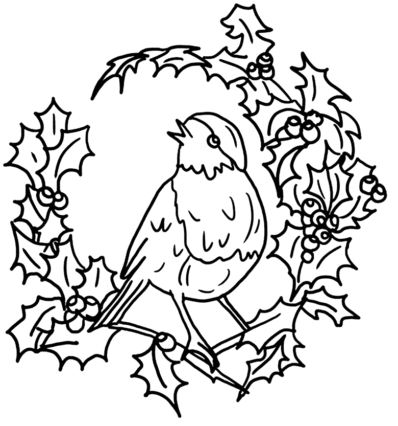 Robin On Wreath Of Holly Coloring Page