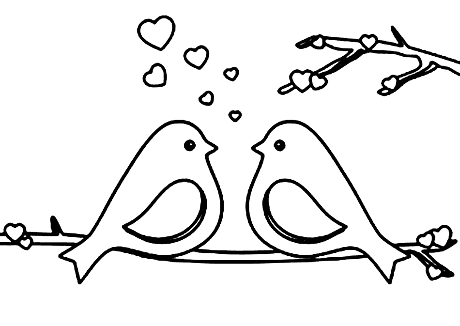 Robins Coloring Page Love Birds