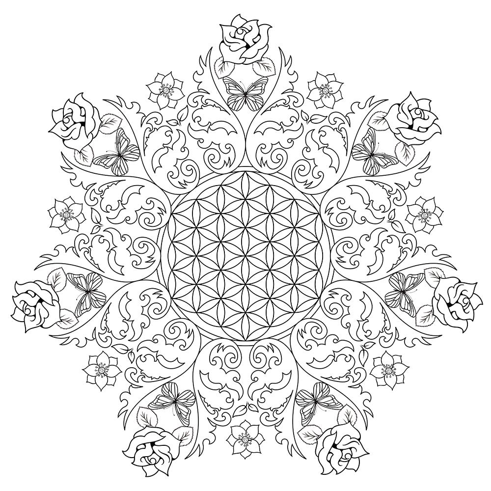 Rose Flower Mandala Coloring Pages