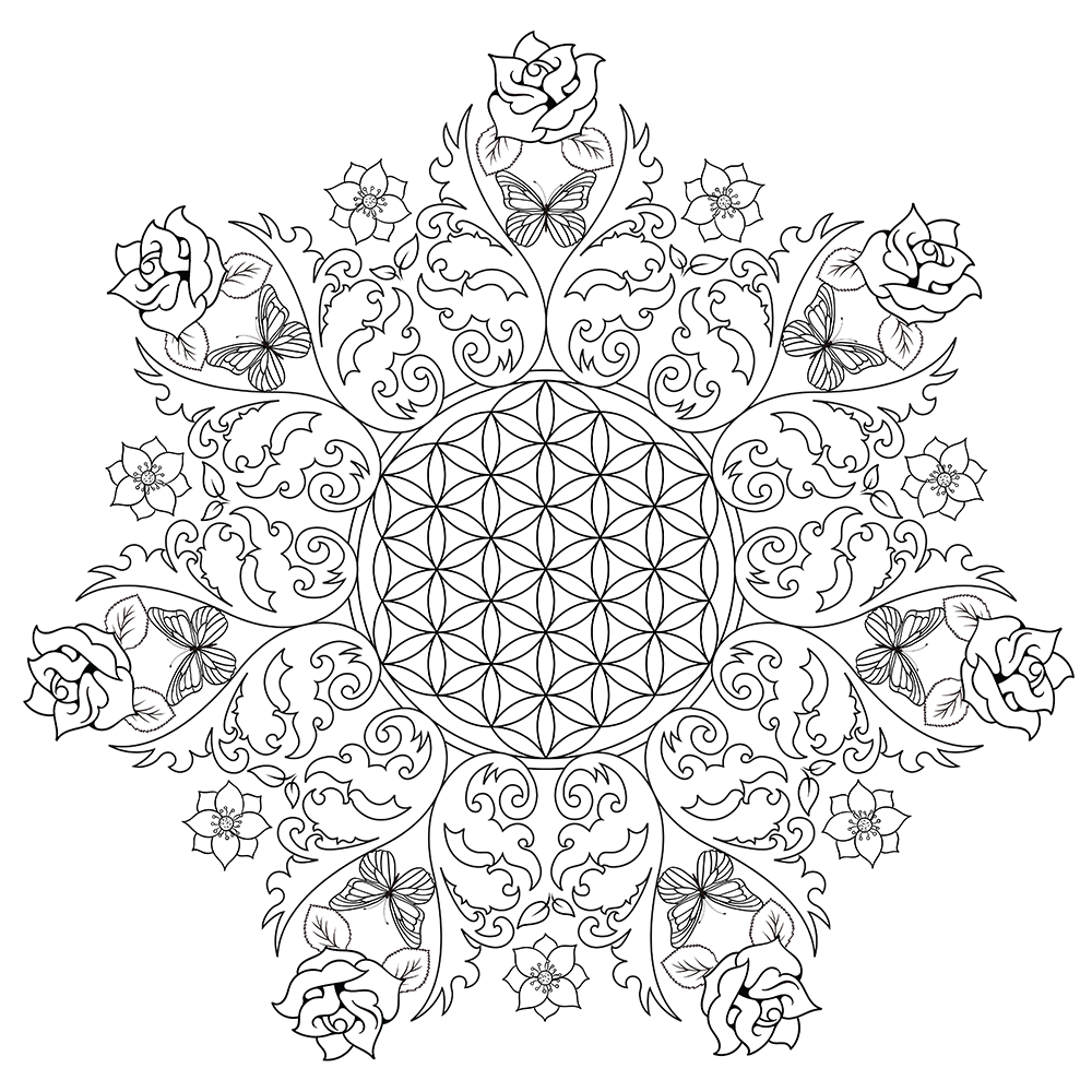 Rose Mandala Flower Coloring Page