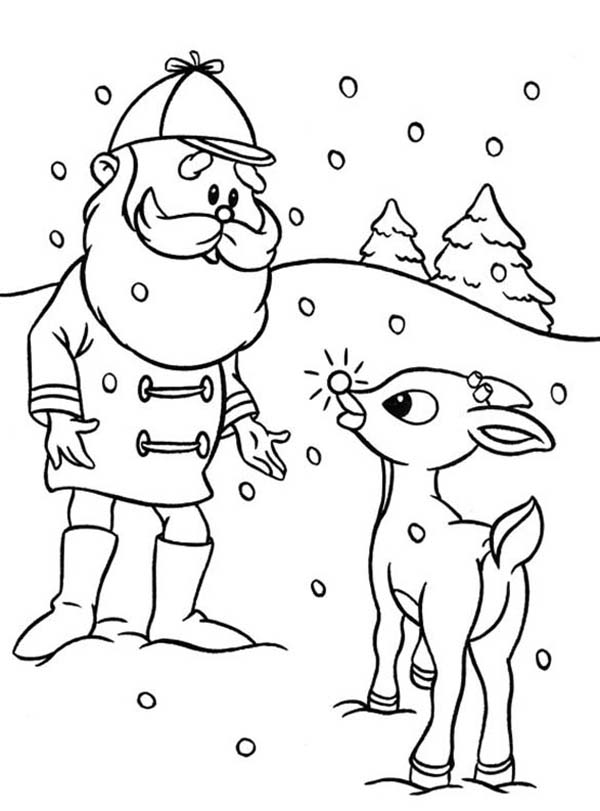 Rudolph With Your Nose So Bright Coloring Page