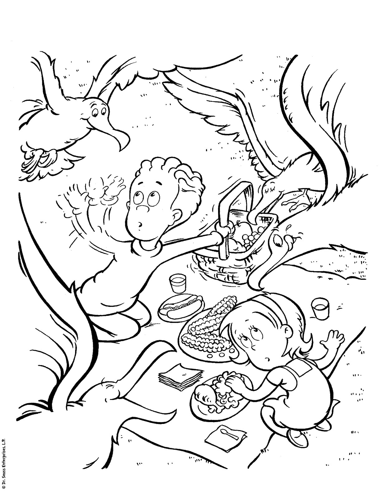 Sally and Nick Cat in the Hat Coloring Pages