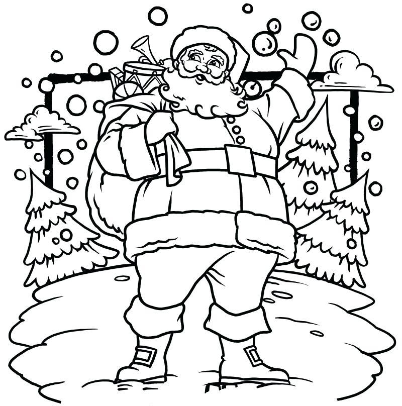 santa christmas scene coloring page