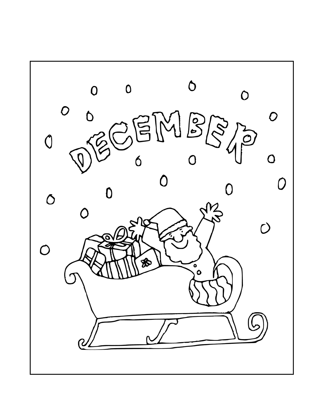 Santa Loves December Coloring Page