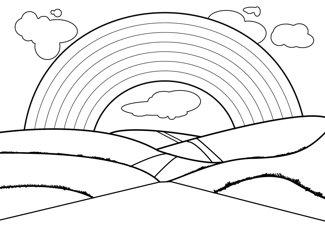 Scenic Rainbow Coloring Page