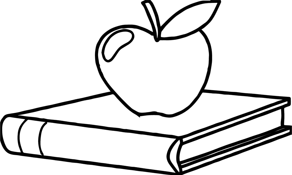 School Apple Coloring Page