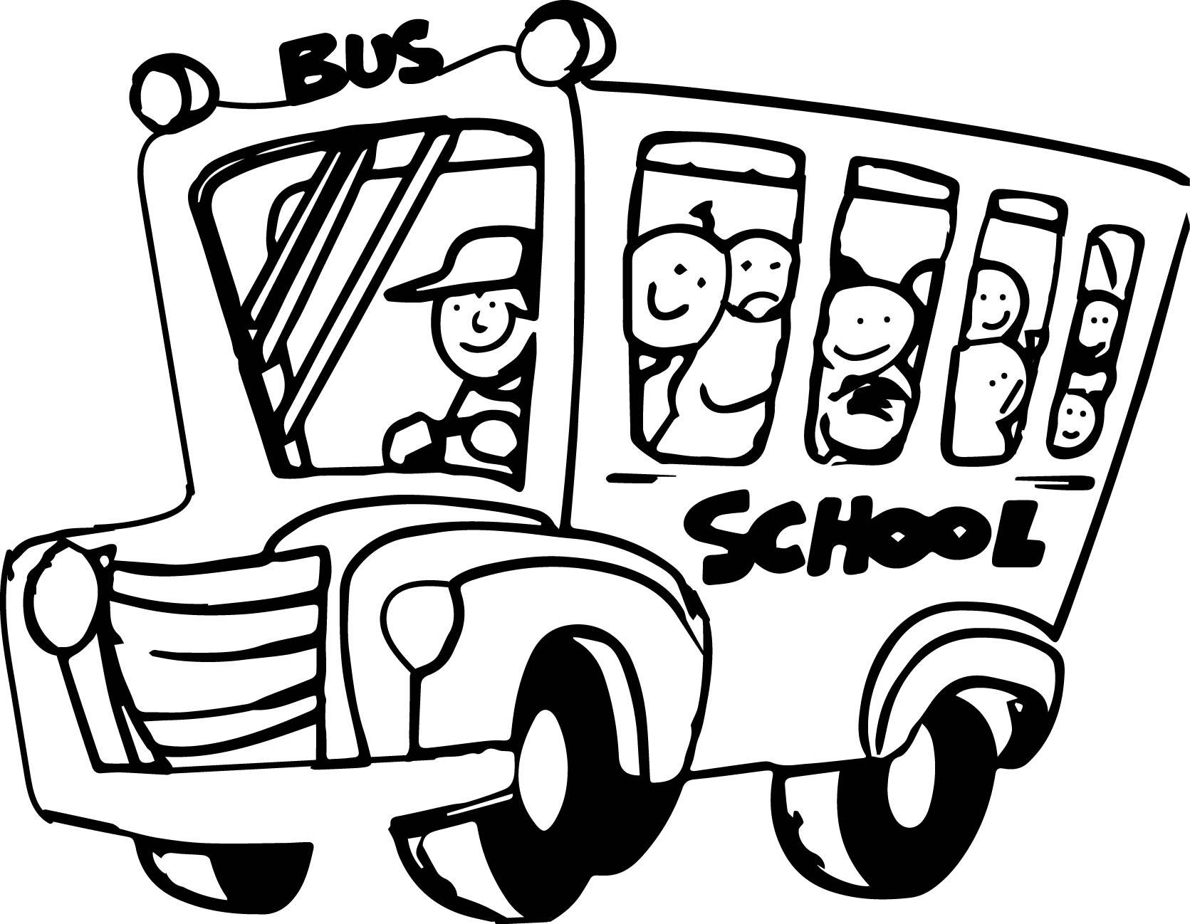 School Bus Coloring Page for Kindergarten