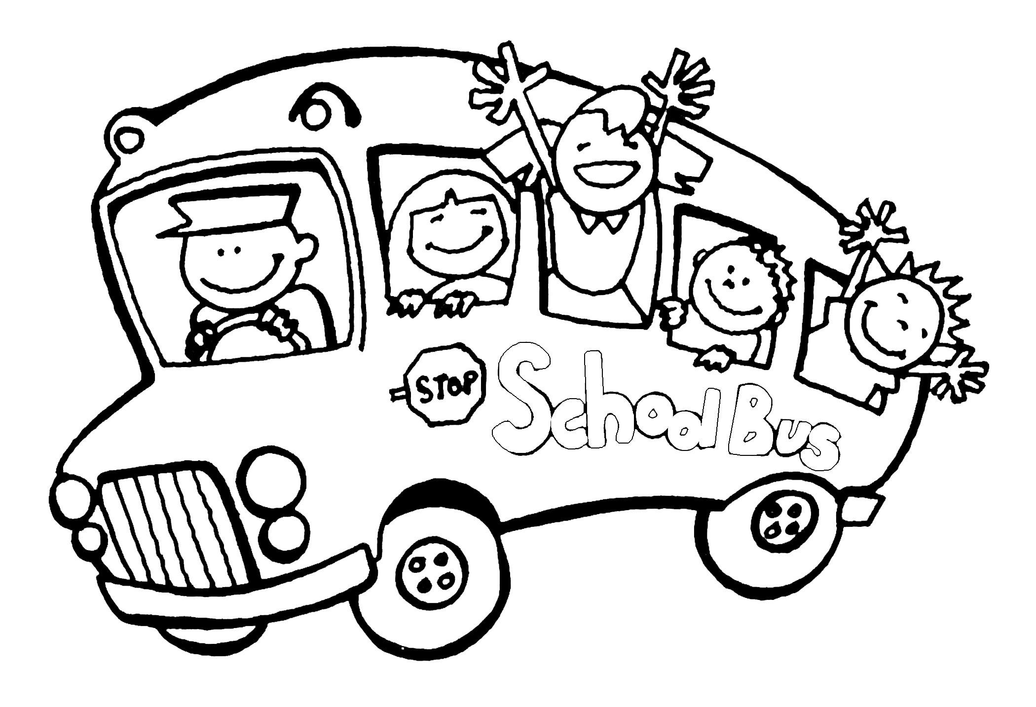 School Bus Kindergarten Coloring Pages