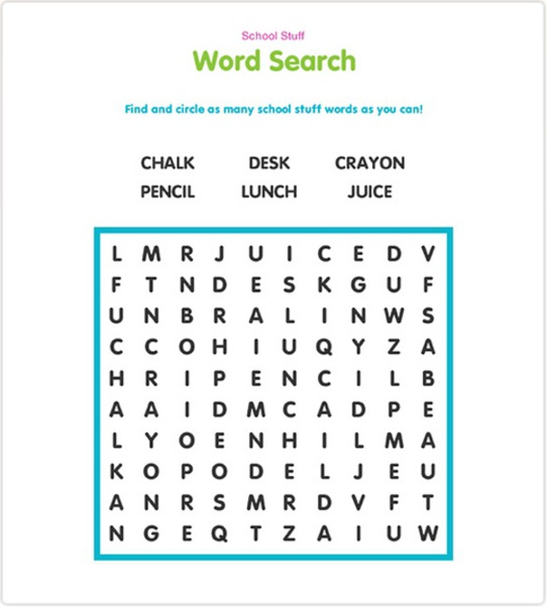 School Stuff Word Search for Kids