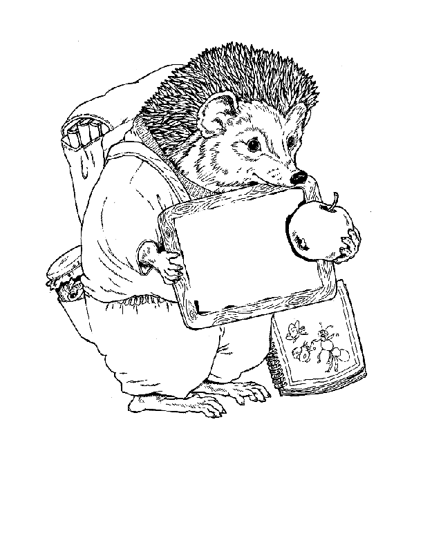 Schooltime For Hedgehog Coloring Page