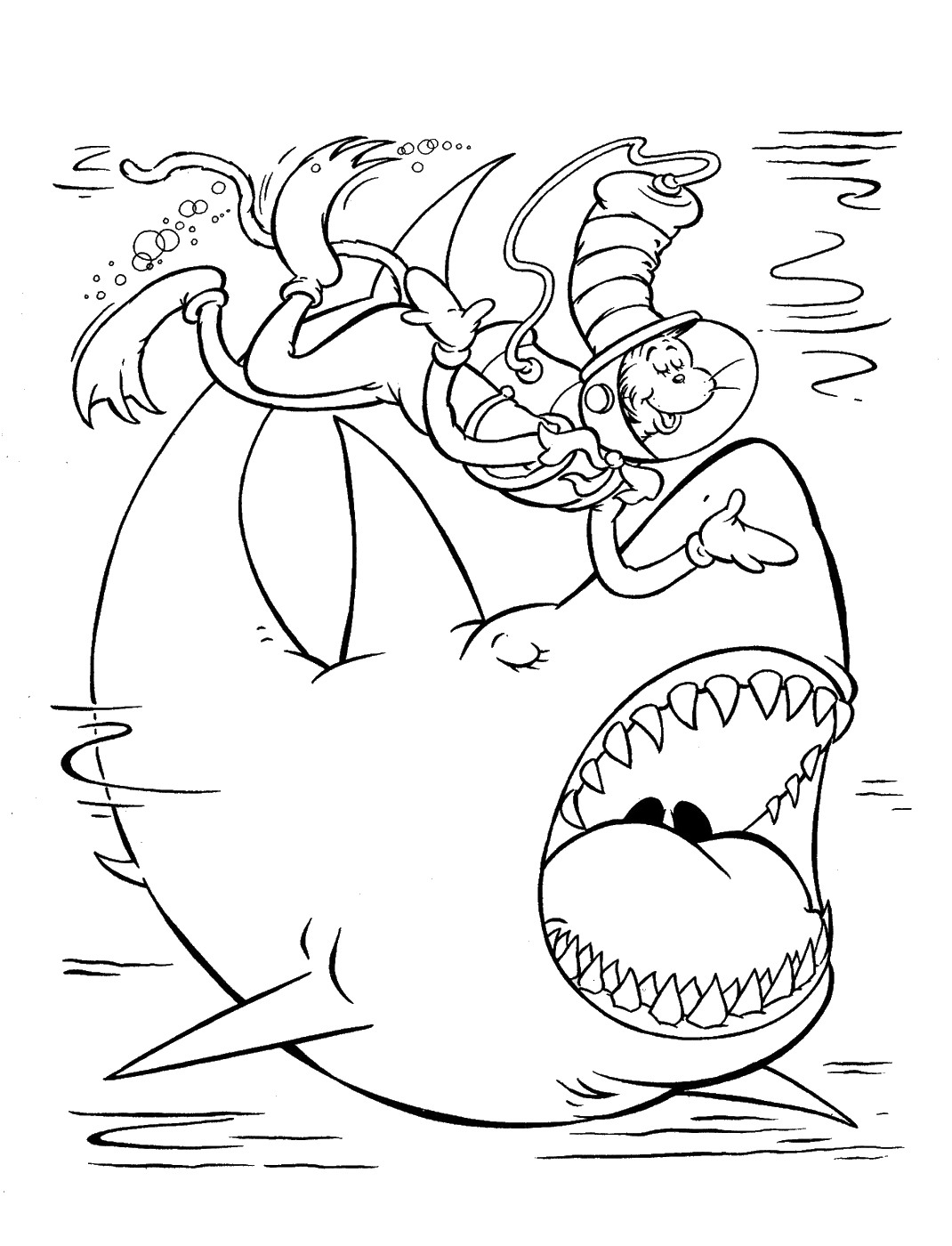 Scuba Diving Cat in the Hat Coloring Pages