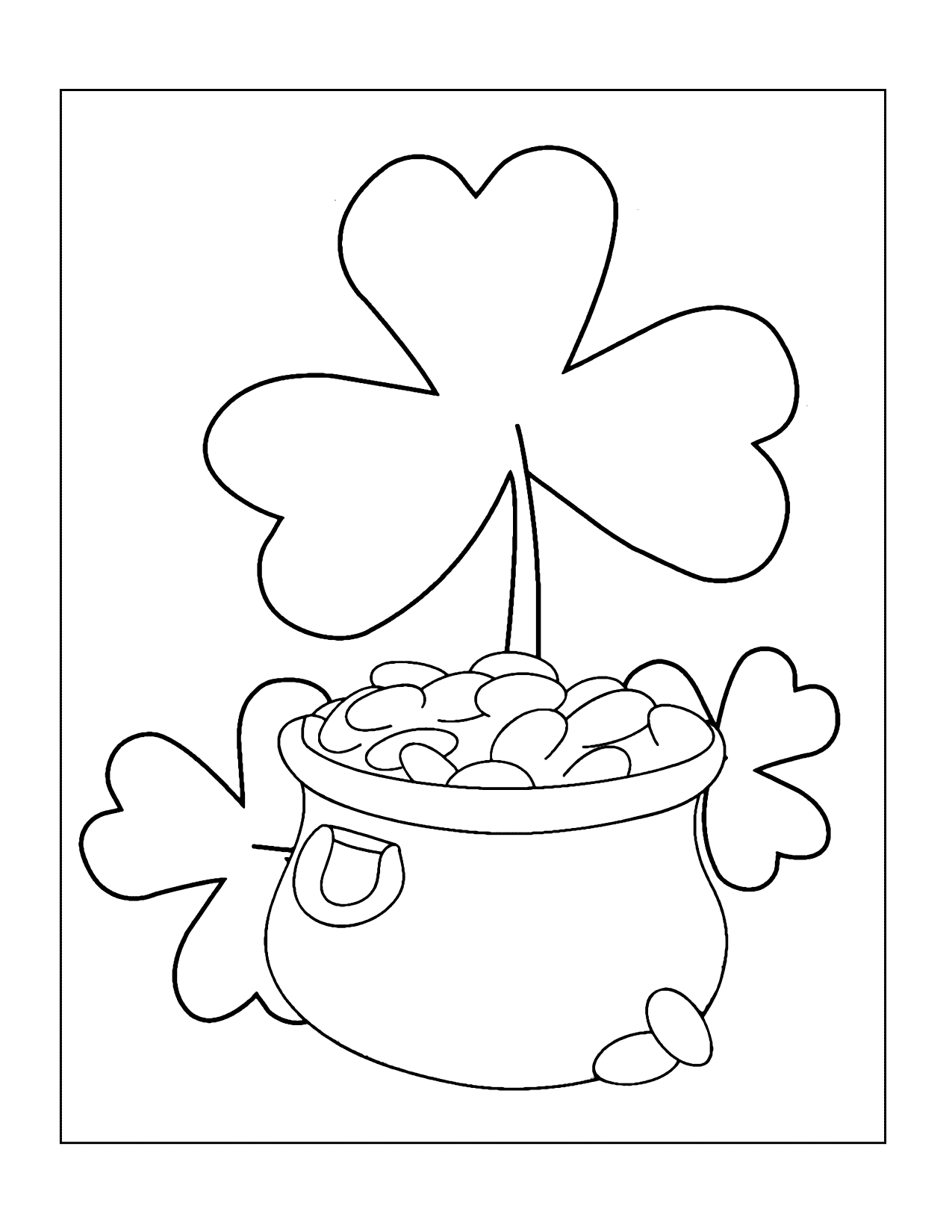 Shamrock And Pot O Gold Coloring Page