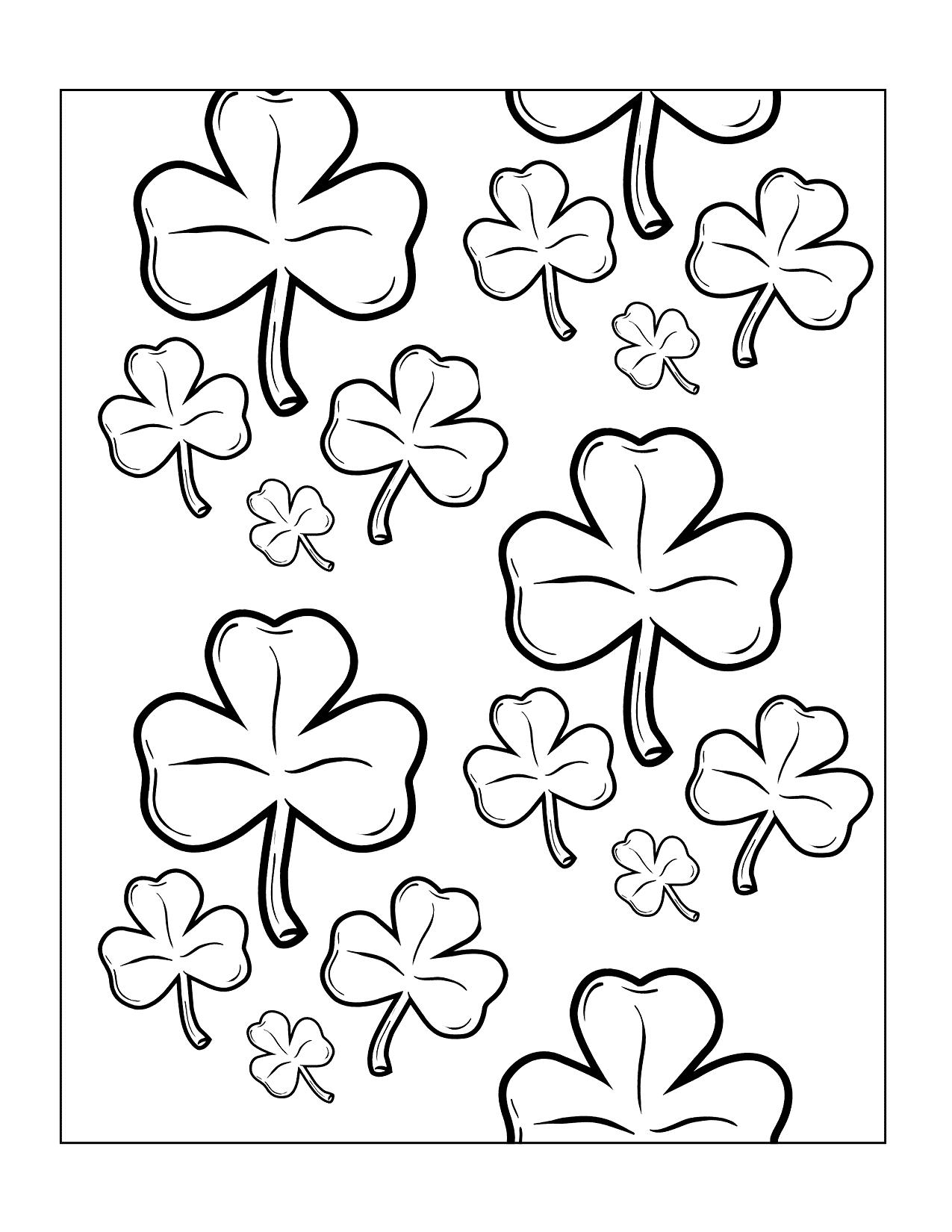 Shamrocks Printable Coloring Page