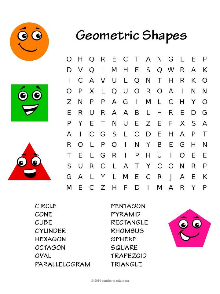 Shapes Word Search for Kids