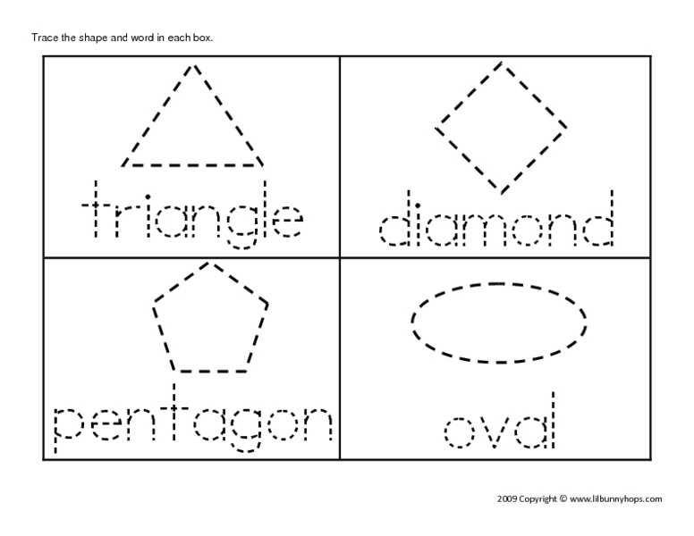 Shapes and Names Preschool Tracing Pages