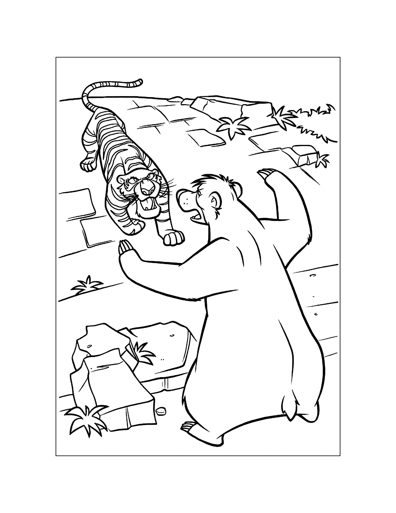 Shere Kahn And Baloo Fight Coloring Page