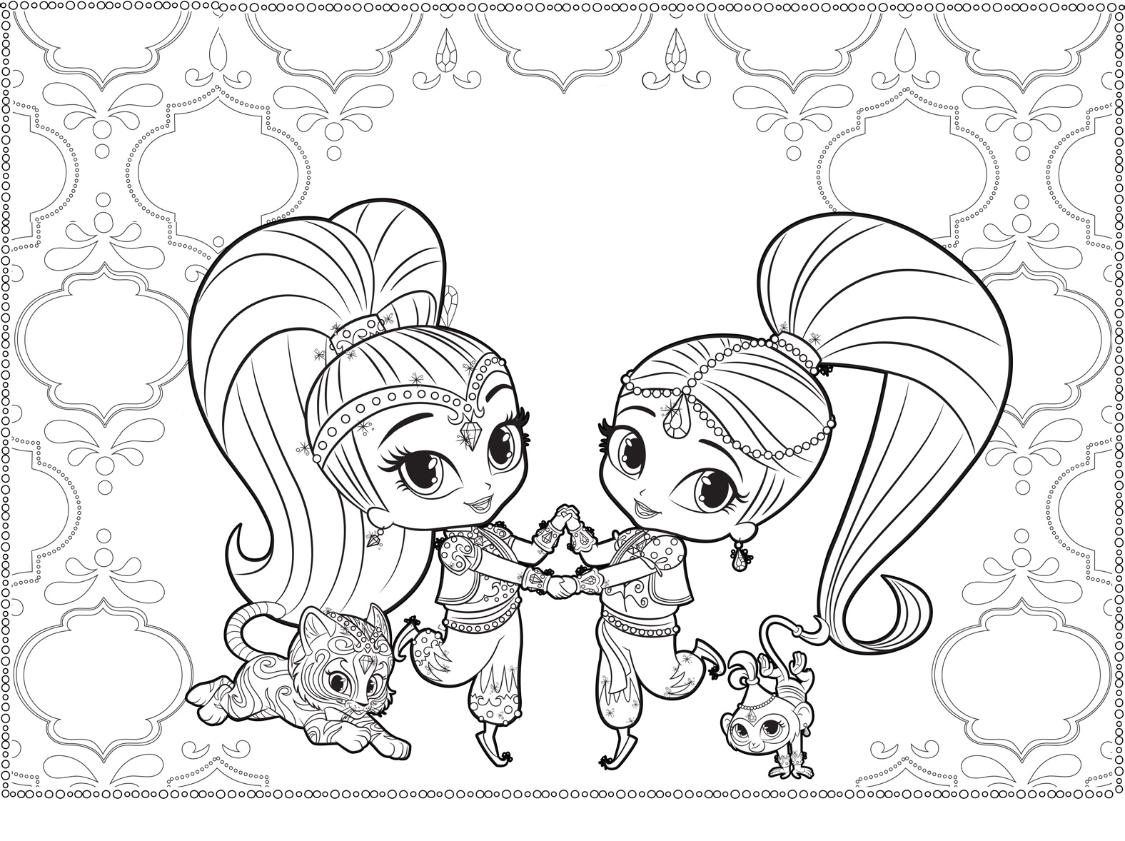 Shimmer and Shine Dancing Coloring Pages