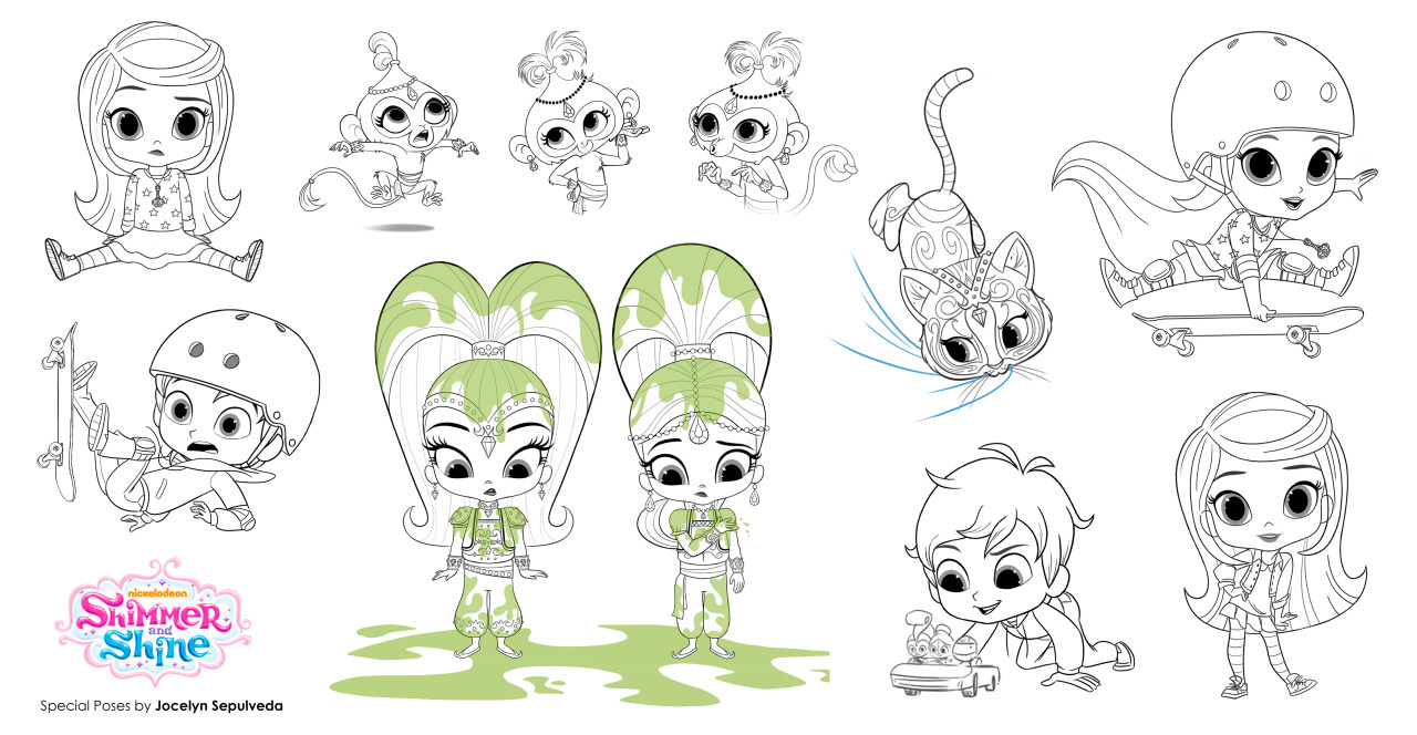 Shimmer and Shine Drawings to Color
