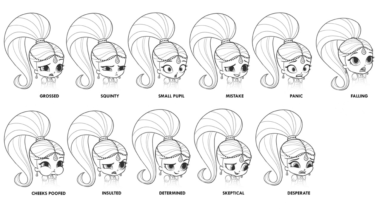 Shimmer and Shine Expressions Drawing Printable