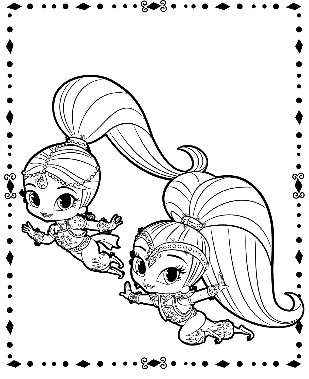 Shimmer and Shine Flying Coloring Pages