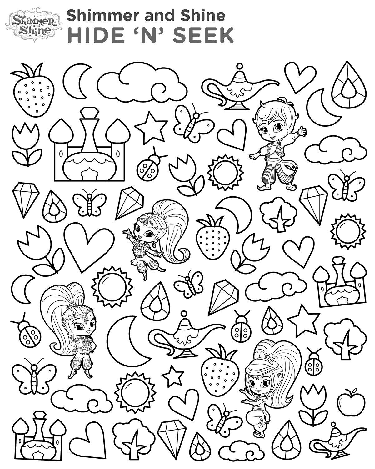 Shimmer and Shine Hide and Seek Coloring Pages