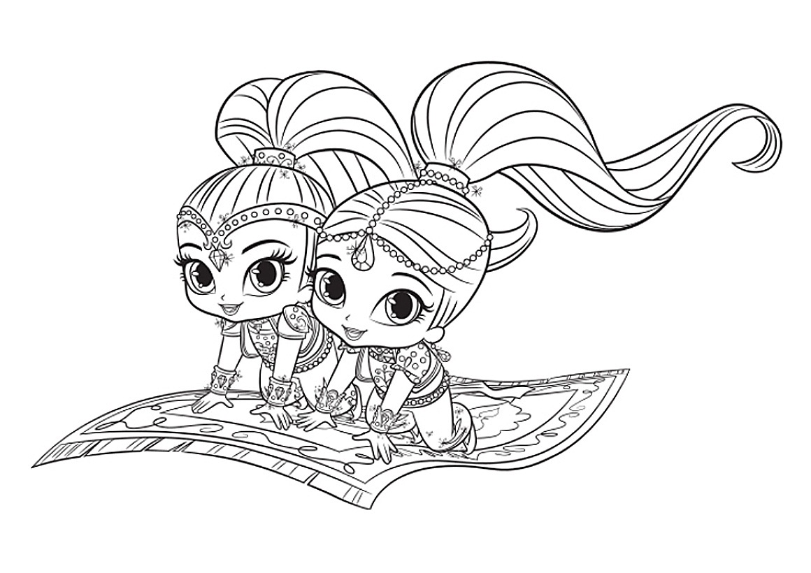 Shimmer and Shine Magic Carpet Coloring Pages