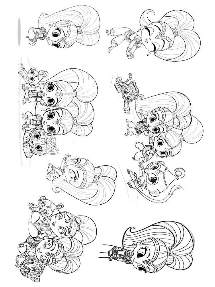Shimmer and Shine Pictures to Color
