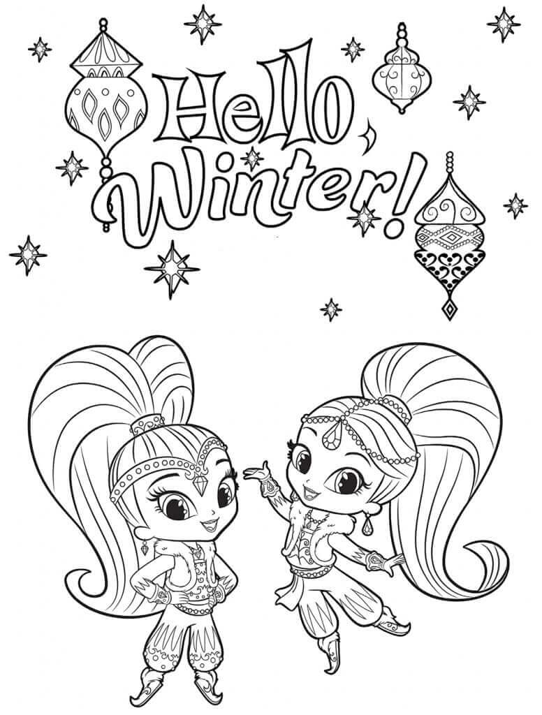 Shimmer and Shine Winter Coloring Pages