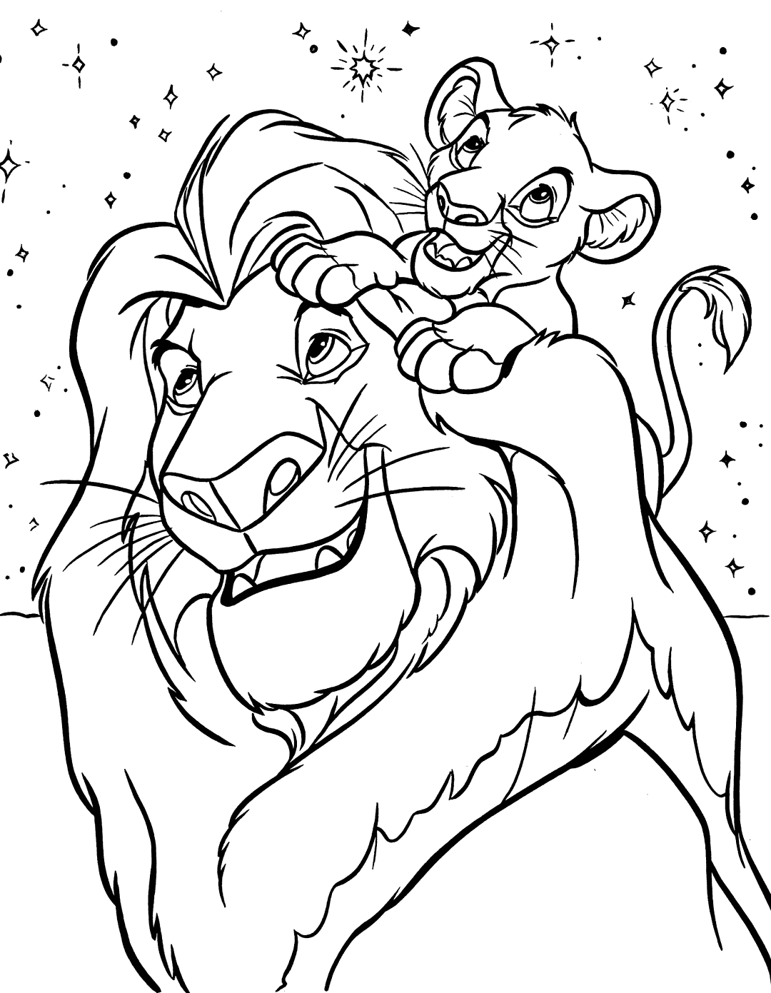 Simba and Mufasa Coloring Page