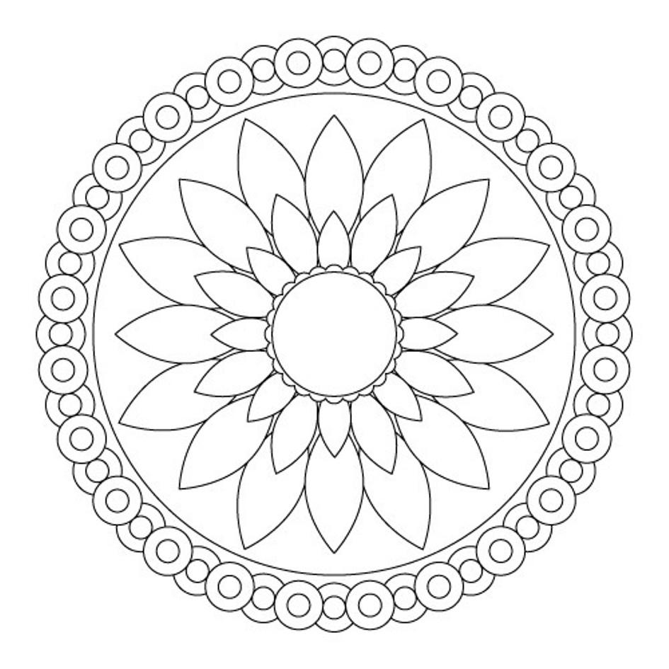 Simple Lotus Mandala for Kids to Color