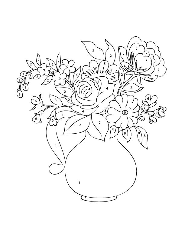Simple Adult Color By Numbers Flower Vase