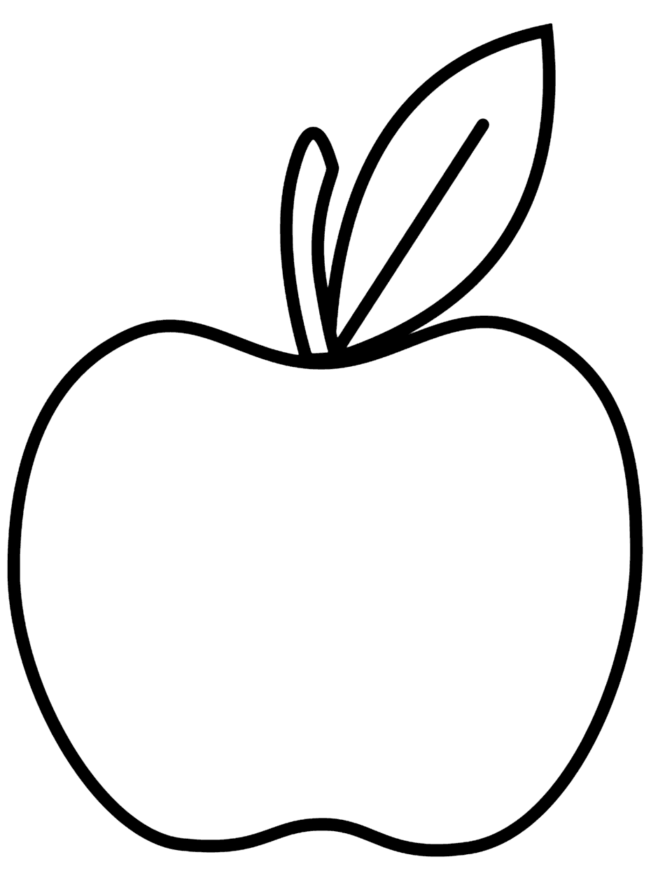 Simple Apple Line Art Coloring Page for Preschool