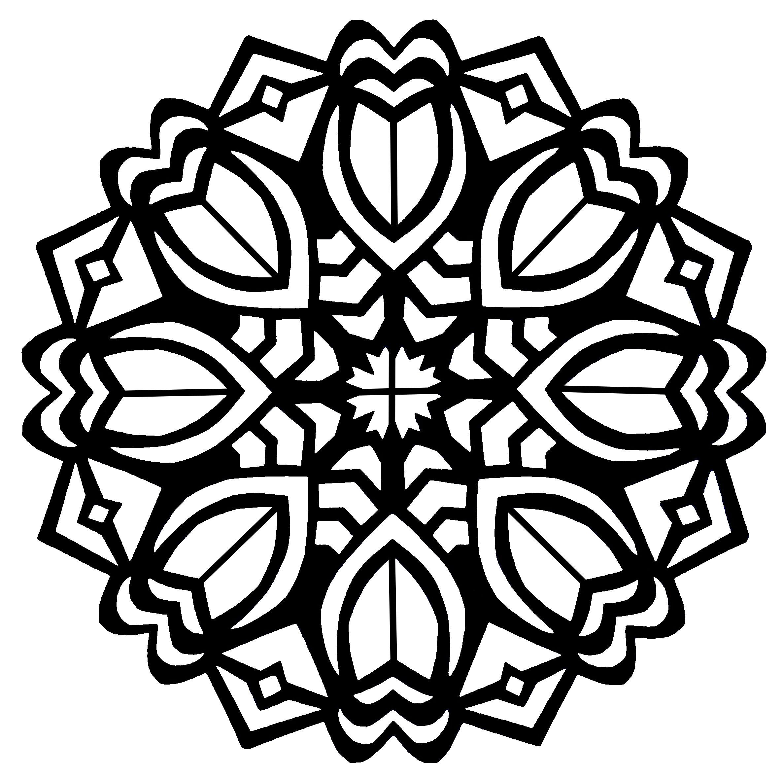 Simple Bold Tulip Flower Mandala Coloring Page