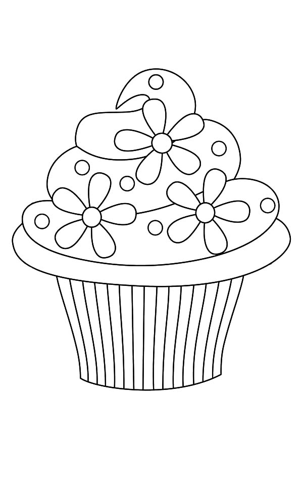 Simple Cupcake Coloring Pages
