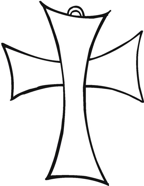 Simple Elegant Cross Coloring Page