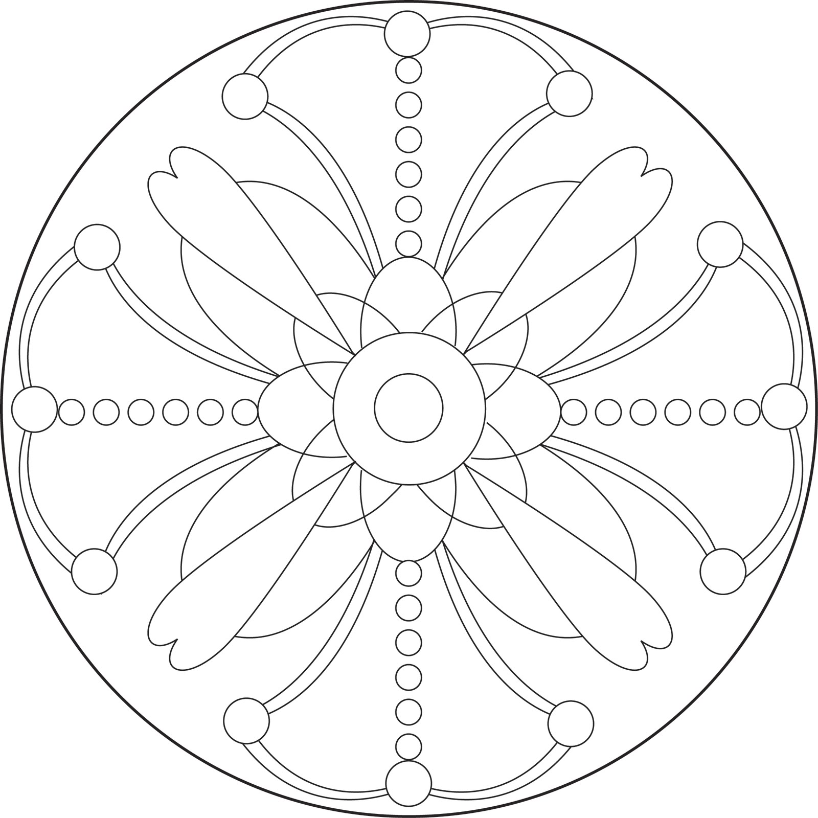 Simple Flower Mandala Coloring Page Printable