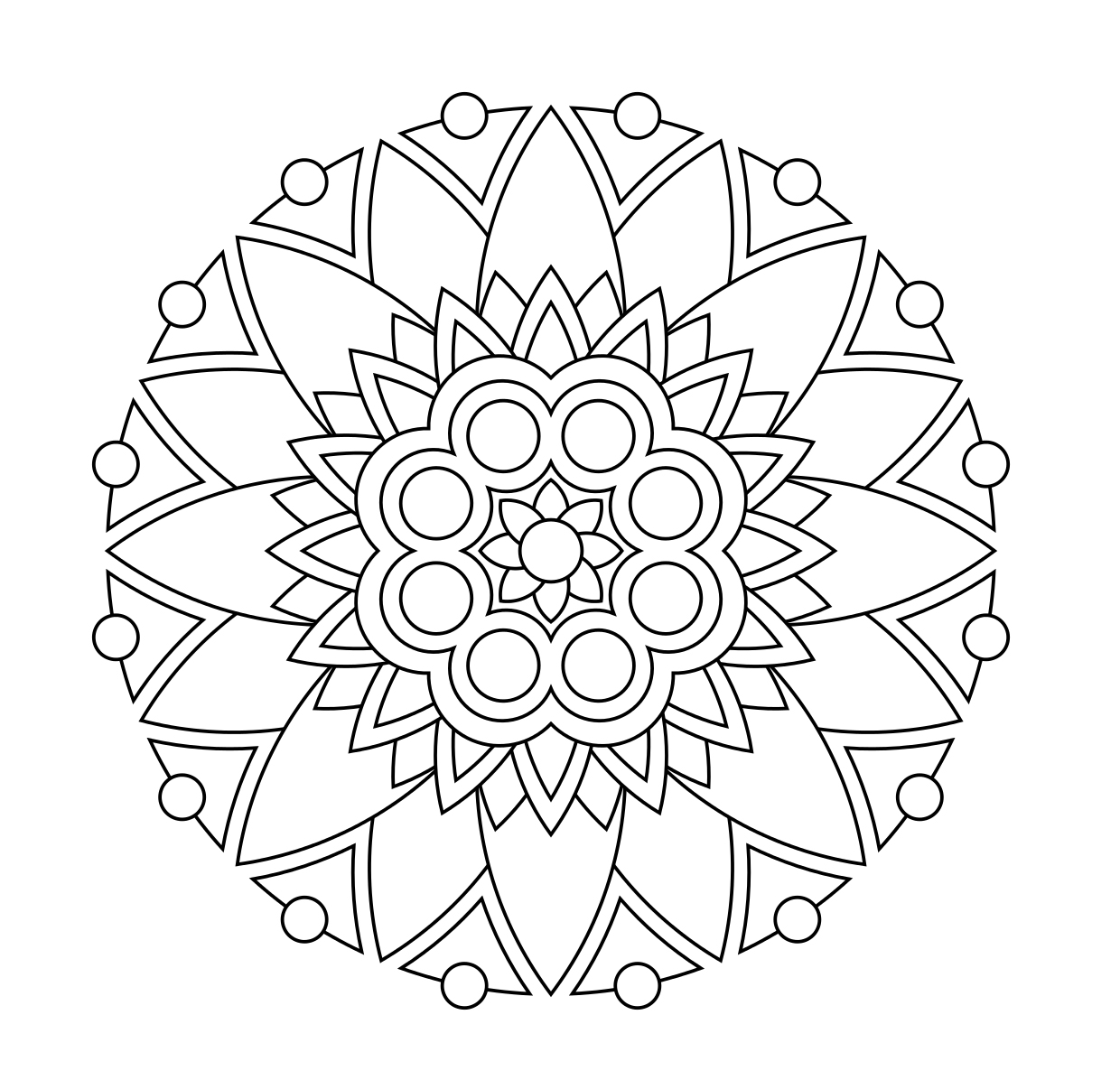 Simple Flower Mandala Coloring Page For Kids