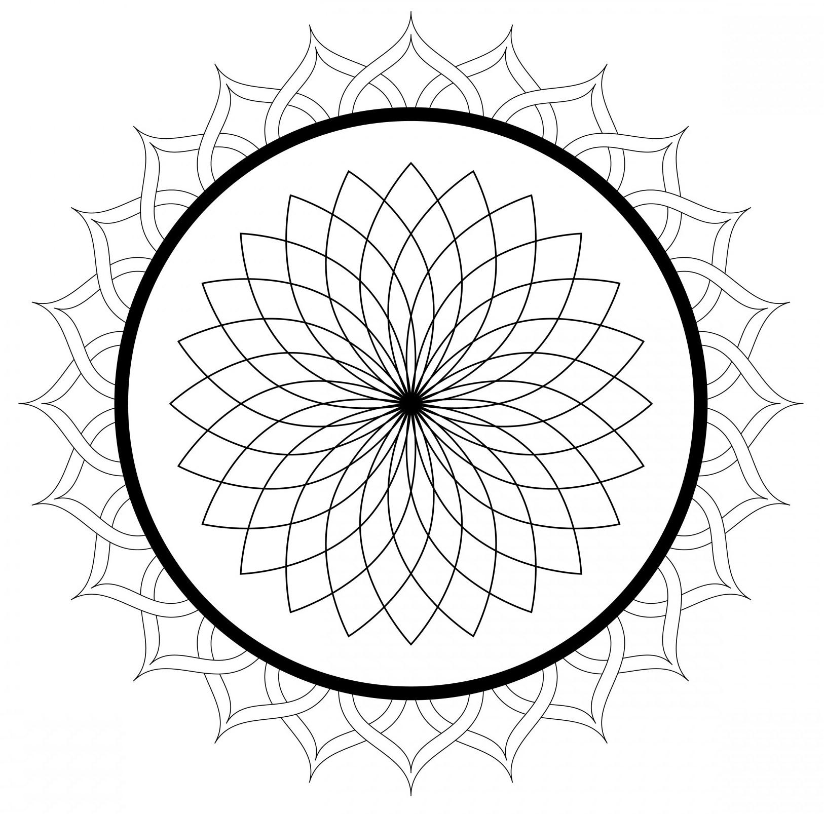 Simple Flower Shape Mandala Coloring Pages