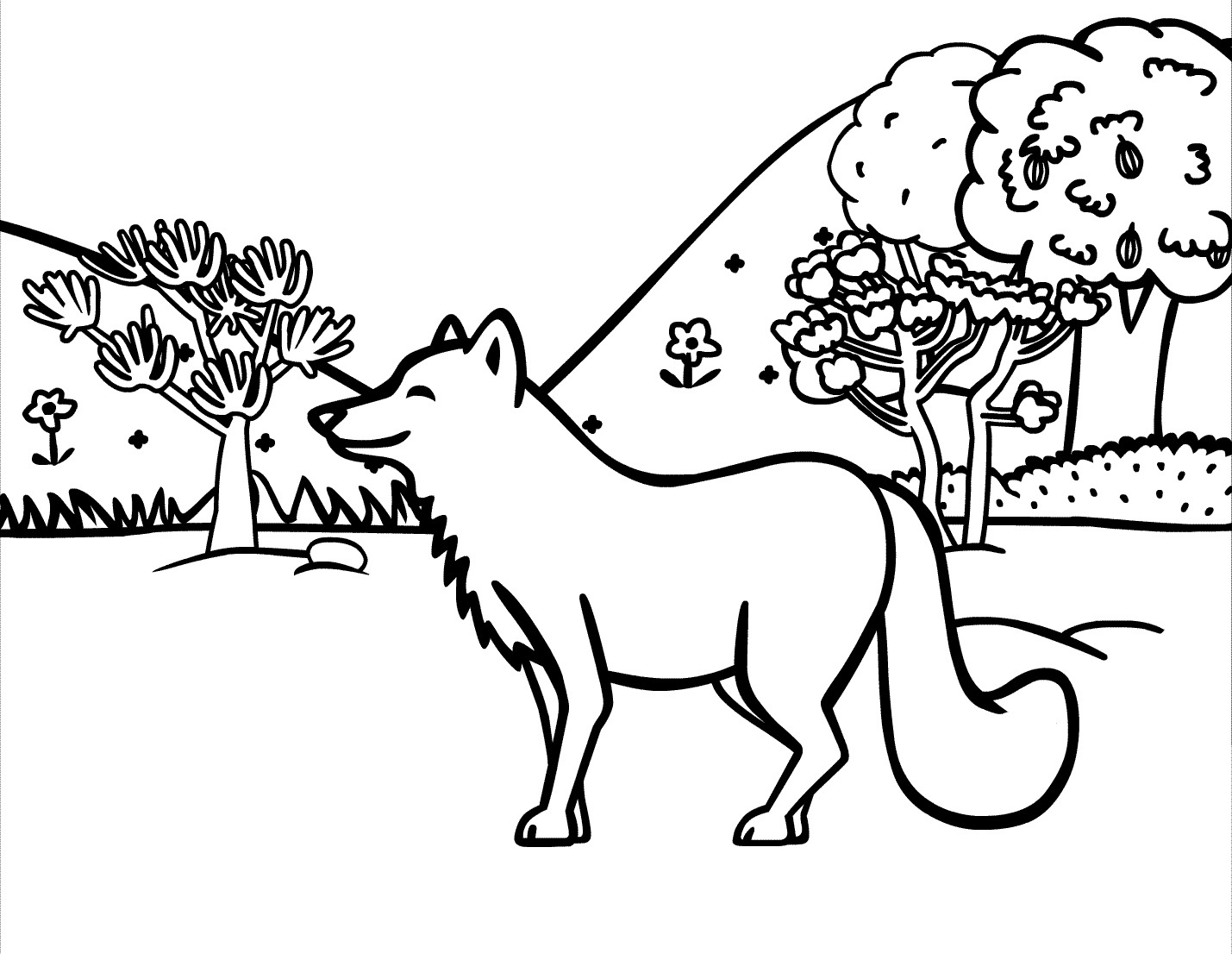Red Fox in the forest coloring page | Free Printable Coloring Pages | 1106x1429