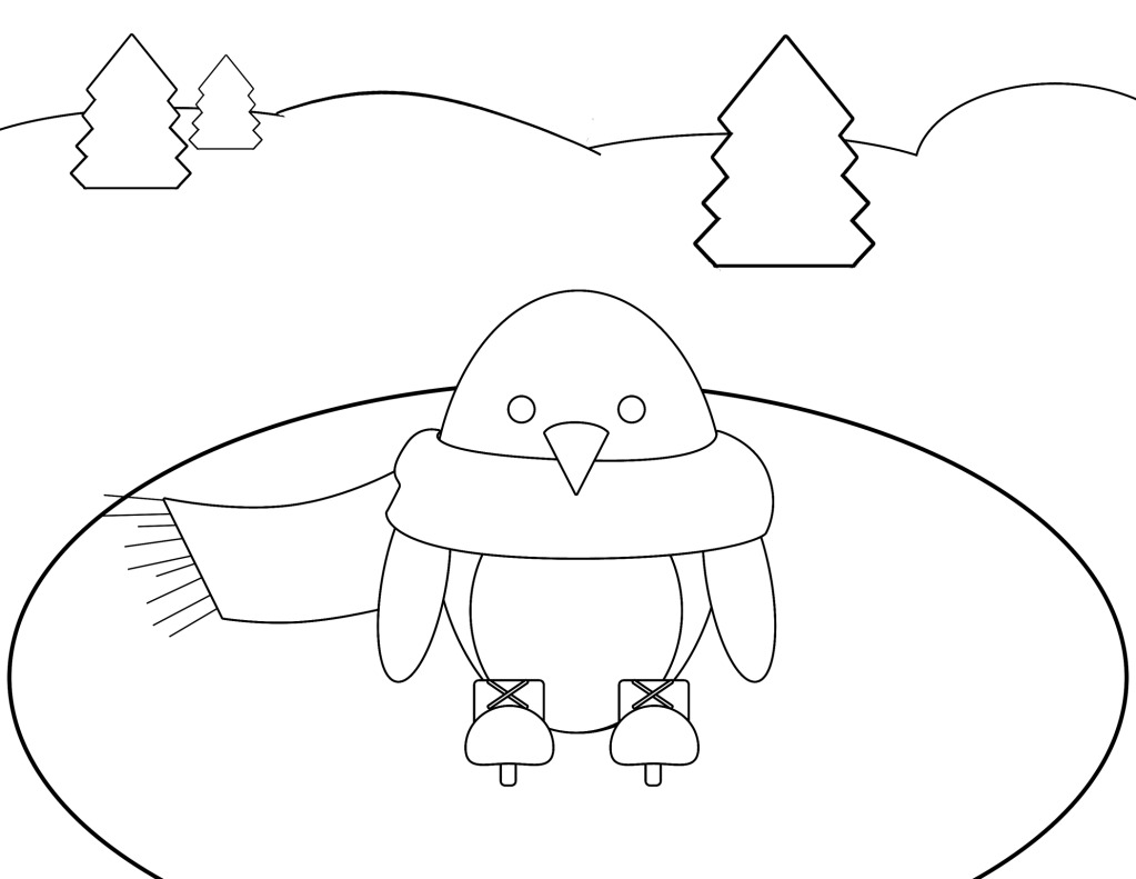 Simple Ice Skating Penguin Coloring Pages