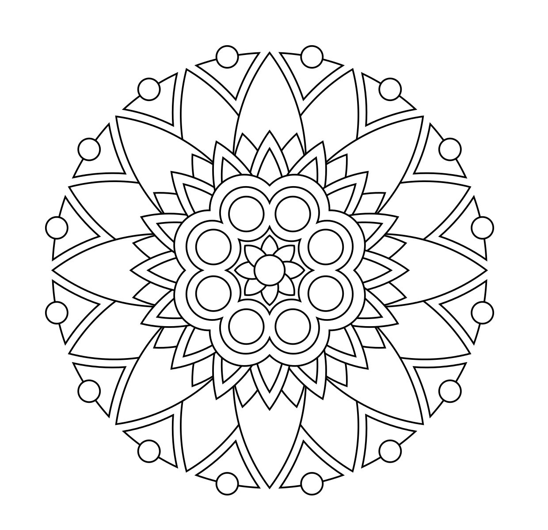 Simple Pattern Flower Mandala Coloring Page
