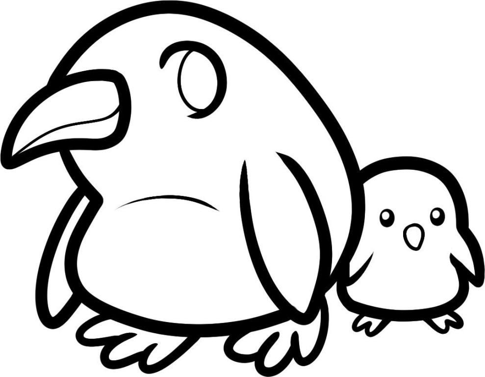 Simple Penguin Coloring Page