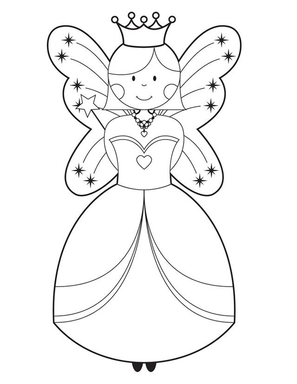 Simple Princess Queen Coloring Page