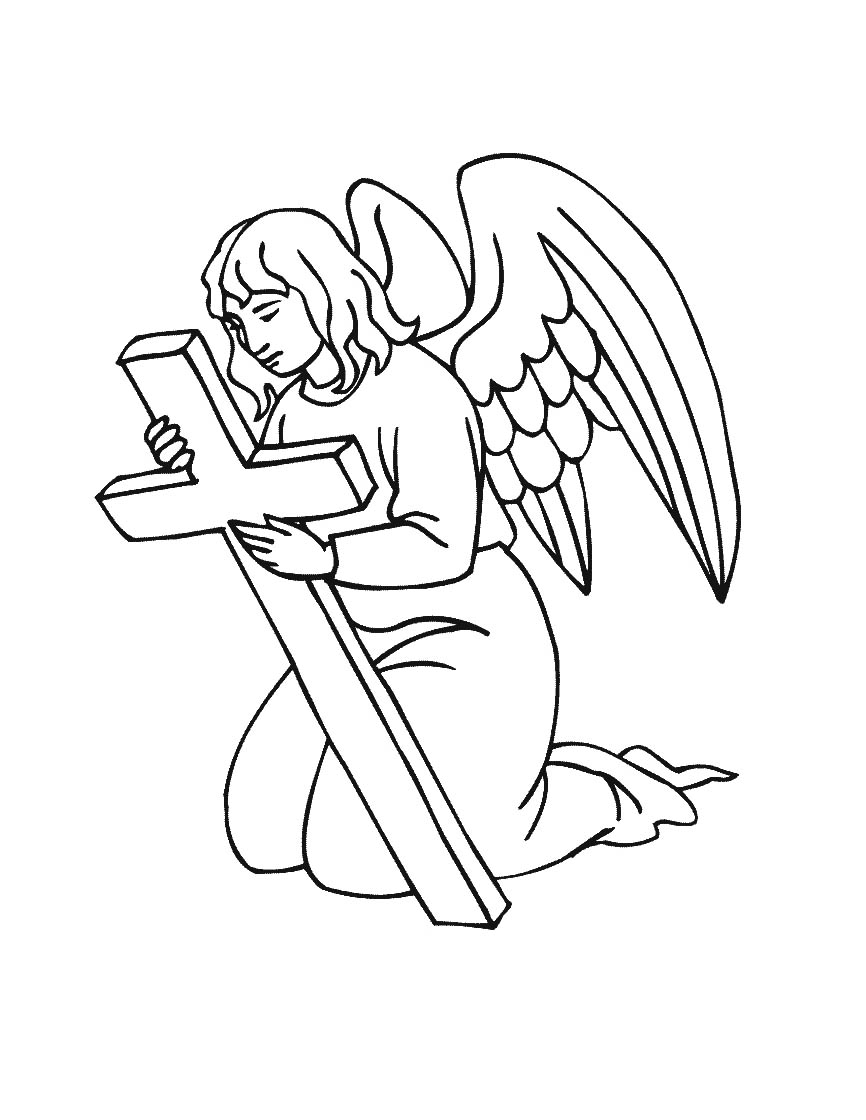 Simple Religious Angel Coloring Page