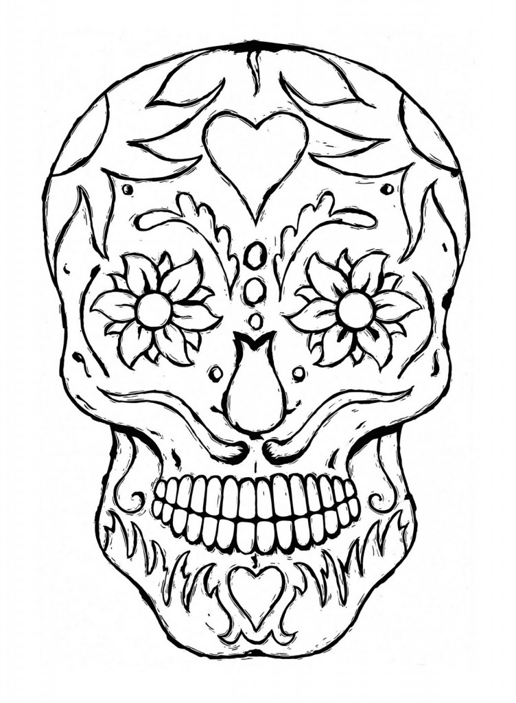Simple Sugar Skull Drawing to Color